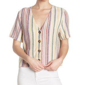 Abound Button Front Linen Blend Striped Top Size M